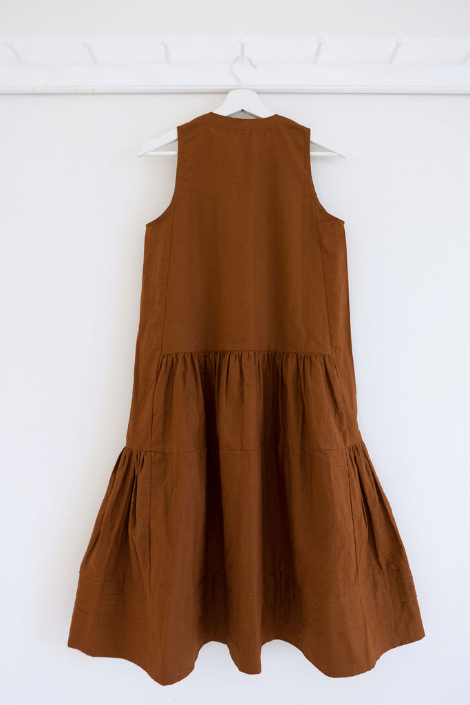 Terracotta Ruffle Dress in Cotton Linen