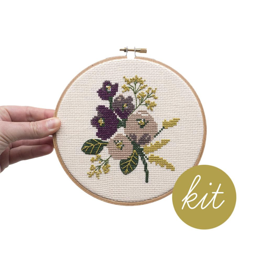Junebug and Darlin Amethyst Floral Cross Stitch Kit