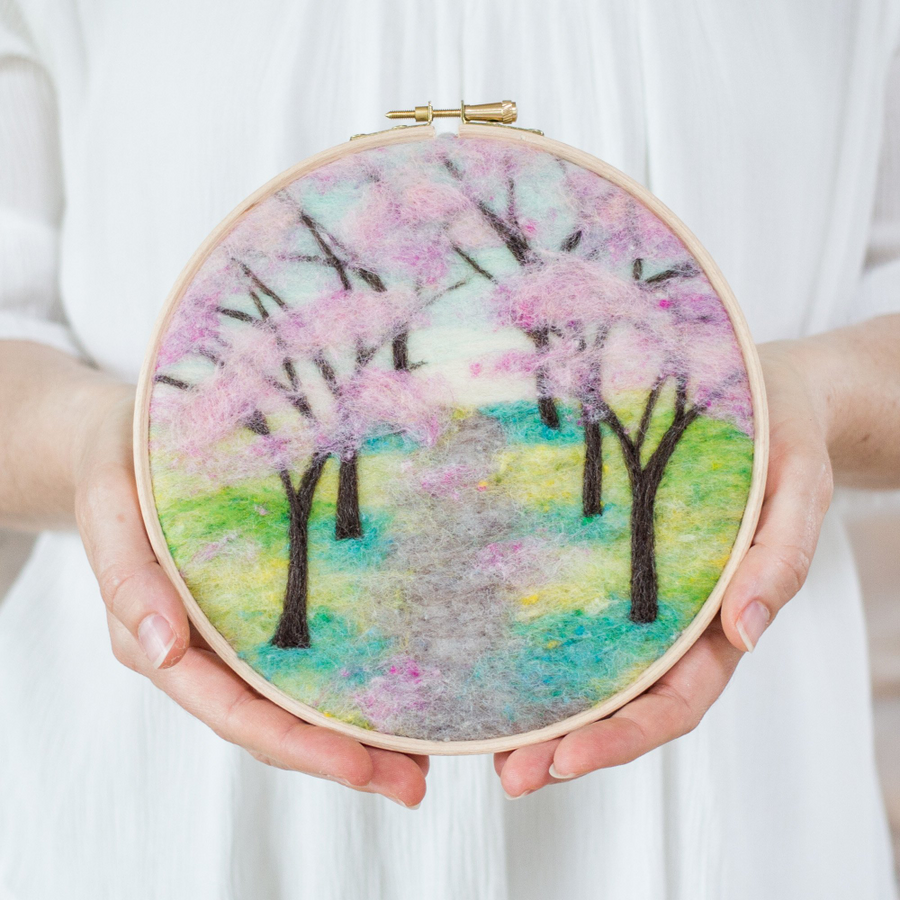 Felted Sky Painting with Wool Kit - Cherry Blossoms