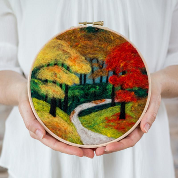 Felted Sky Painting with Wool Kit - Fall Foliage