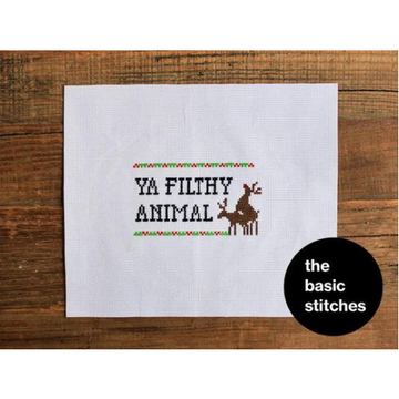 The Basic Stitches Cross Stitch Kit - Ya Filthy Animal