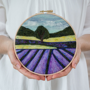 Felted Sky Painting with Wool Kit - Lavender Fields