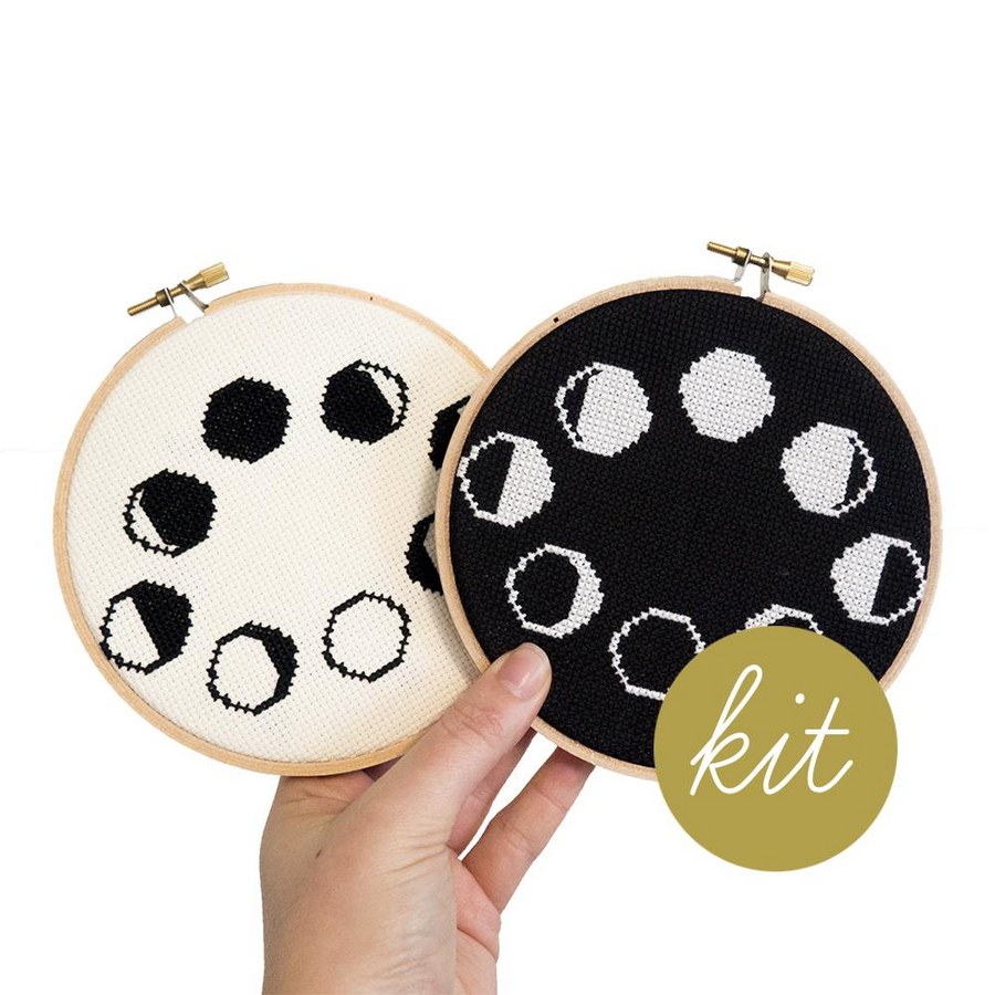 Junebug and Darlin Moon Phases Cross Stitch Kit