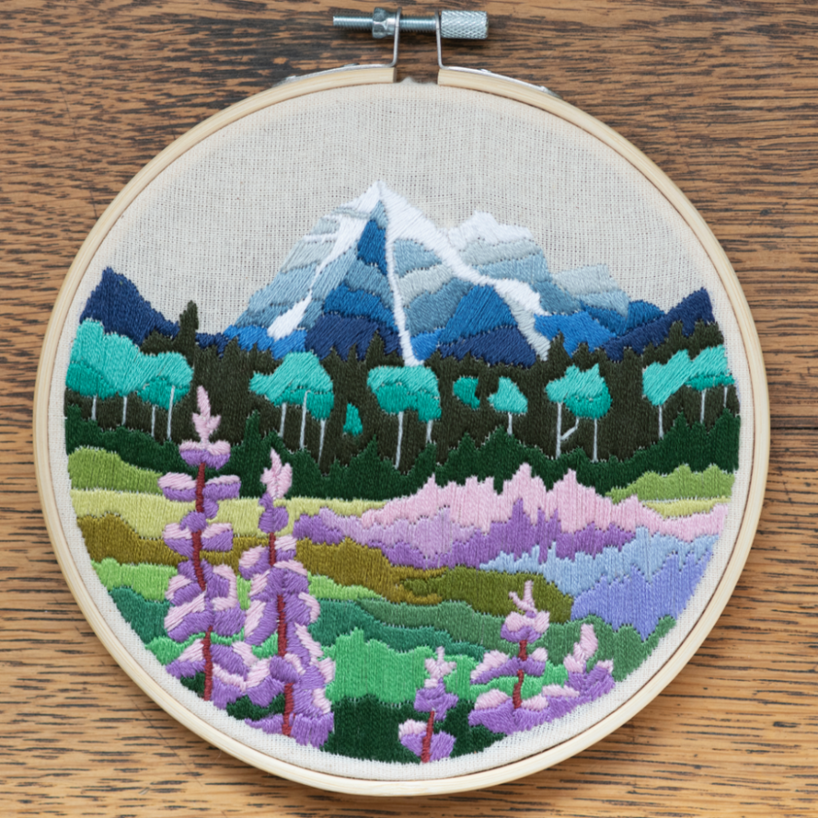 Anna Angiel Embroidery Kit | Mount Robson