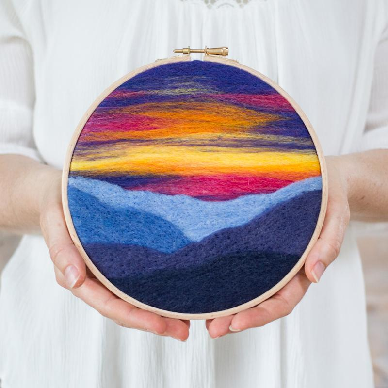 Felted Sky Painting with Wool Kit - Mountain Sunset