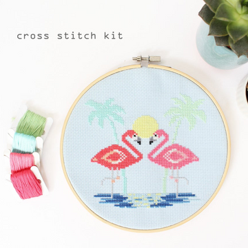 Diana Watters Pink Flamingos Cross Stitch Kit