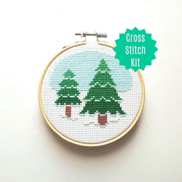 WistfulBird Cross Stitch Kit - Winter Trees