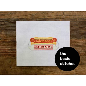The Basic Stitches Cross Stitch Kit - Wieners Never Quit