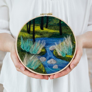 Felted Sky Painting with Wool Kit - Woodland Stream