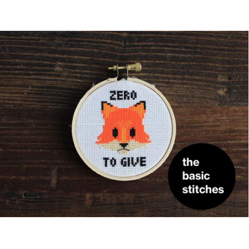 The Basic Stitches Cross Stitch Kit - Zero Fox to Give
