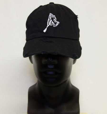 Distressed Hat - Black w/ White