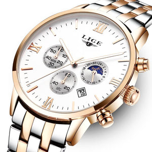Top Brand Luxury LIGE Moon Phase Full Steel Watch