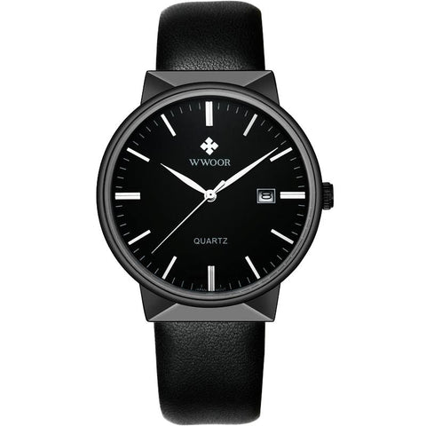 Sports Black Leather Strap Wrist Watch