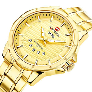 Gold Quartz Naviforce Mens Waterproof Stainless Steel Watch