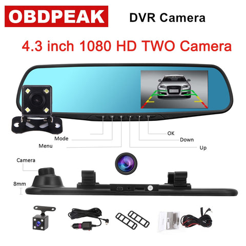 Car Driving Camera Full HD 1080p Reverse Image Dual Lens Dash Cam