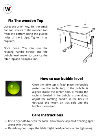 Wudore table Installation Guide