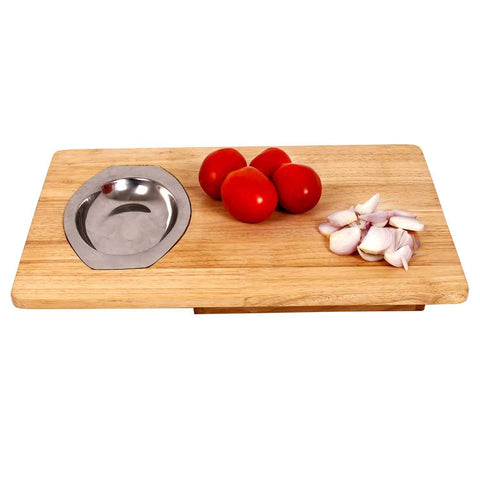 Vegetable Chopping Board with Bowl unit Working - Large | Wudore