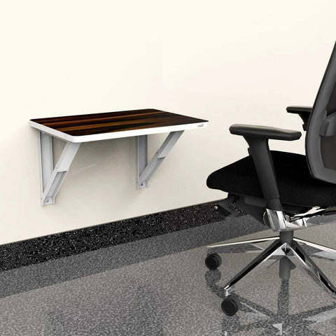 Wall mounted laptop table with folding attachment in mixed wenge finishing | Wudore
