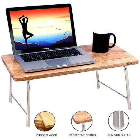 Laptop Table With Folding Steel Legs - Natural wood