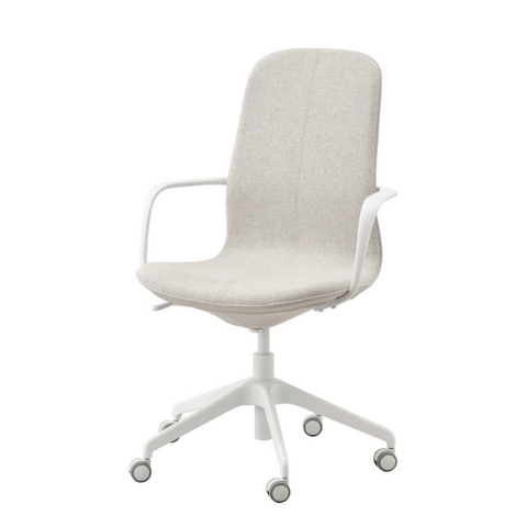 Office chair with armrest Beige I Pivot-in-out