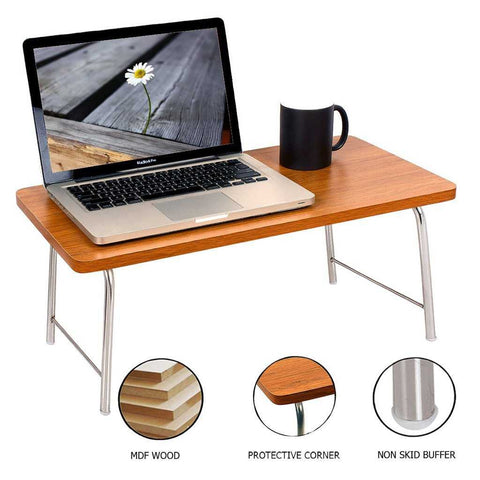 Laptop Table With Folding Steel Legs - Red Sandalwood | Wudore