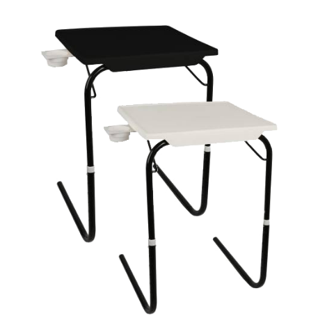 Multi utility Table mate with Black legs Buy-1-Get-1 I Medium Black & White