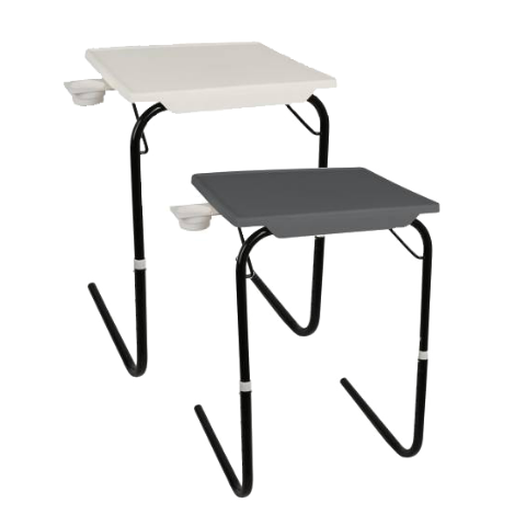 Multi utility Table mate with Black legs Buy-1-Get-1 I Medium Grey & White