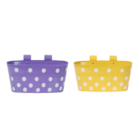 Hanging Flower Pots @Buy-1-Get-1 plane Dotted design Small Yellow & Purple - Wudore.com