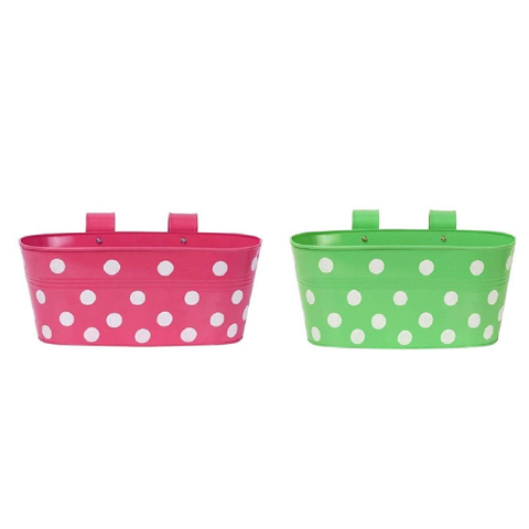 Hanging Flower Pots @Buy-1-Get-1 Dotted design I Small Green & Pink - Wudore.com