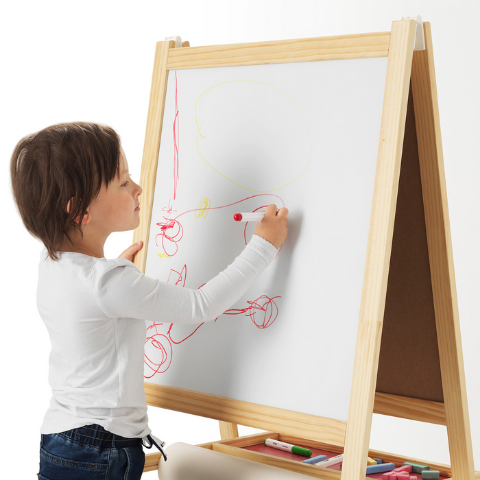 Preschool Art Easel with White and Black board I Di-Side - Wudore