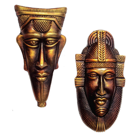 Terracotta wall clay art Pack-2 I Egyptian King & Queen
