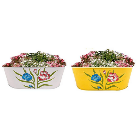 Hanging Flower Pots @Buy-1-Get-1 Floral design Small Yellow & White - Wudore.com