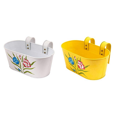 Hanging Flower Pots Small Yellow & White - Wudore.com