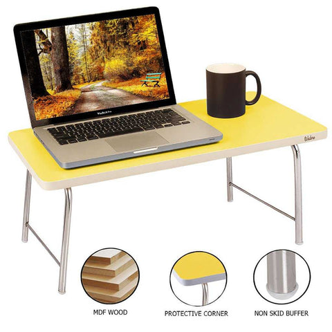 Laptop Table With Folding Steel Legs - Yellow | Wudore