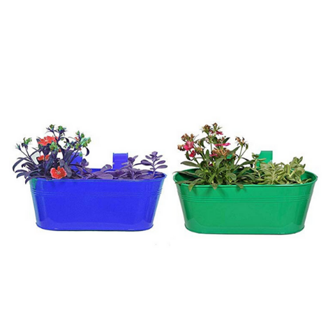 Hanging Flower Pots @Buy-1-Get-1 Plain pattern Small Blue & Green - Wudore.com
