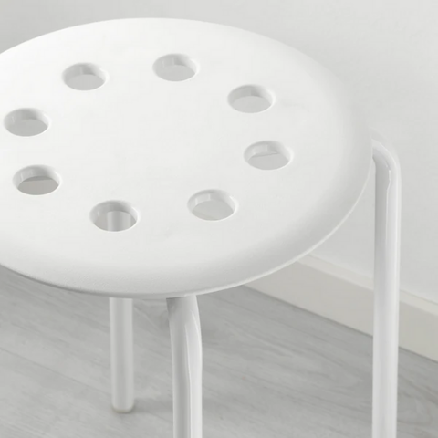 Stackable Stool white I Cavity-seat
