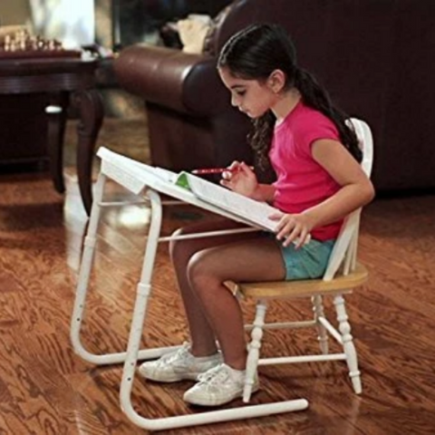 Mini foldable Study table - Black with White legs