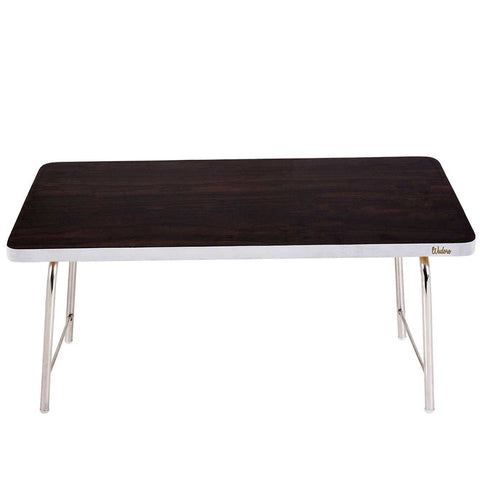 Laptop Table with folding steel legs Black walnut colored | Wudore