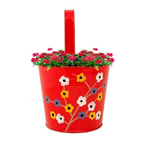 Handpainted Hanging planters Floral design - Wudore.com