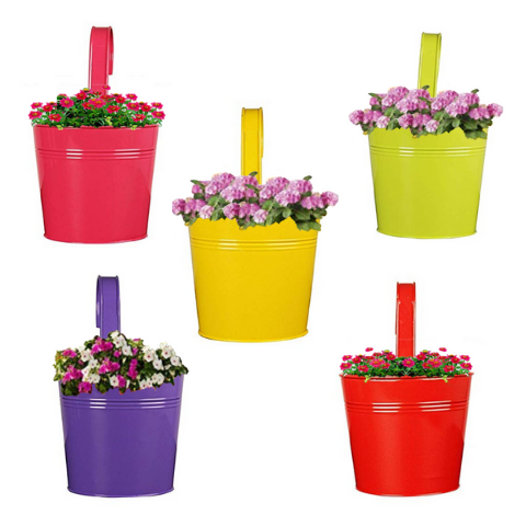 Hanging Flower Pots Multi pack Plain pattern Set-of-5 - Wudore.com