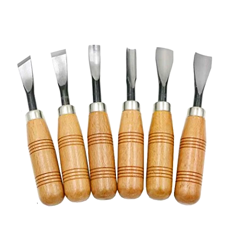 Wood carving chisel 6pc set I Round Handle