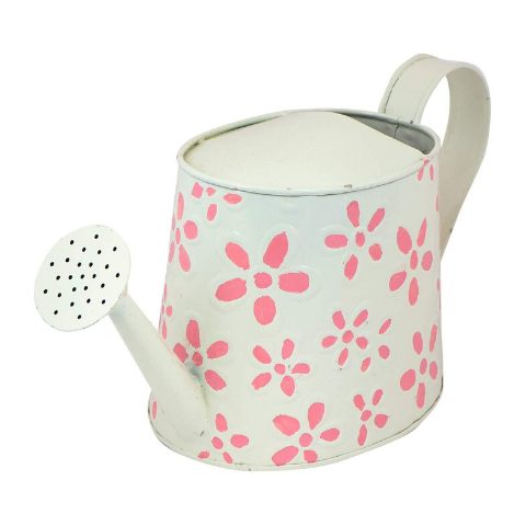 Hand Painted Garden Watering Can White Side view - Wudore.com