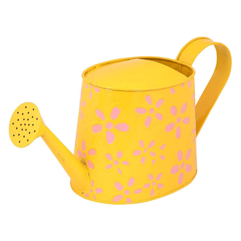 Hand Painted Garden Watering Can Yellow Side view - Wudore.com