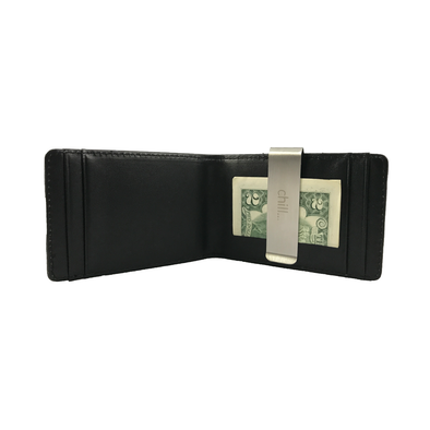 Fold-Clip Black Leather Money Clip