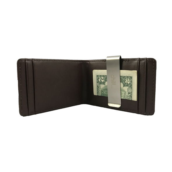 Fold-Clip Brown Folding Money clip