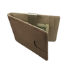 Fold-Clip Brown/Cream Leather Money Clip