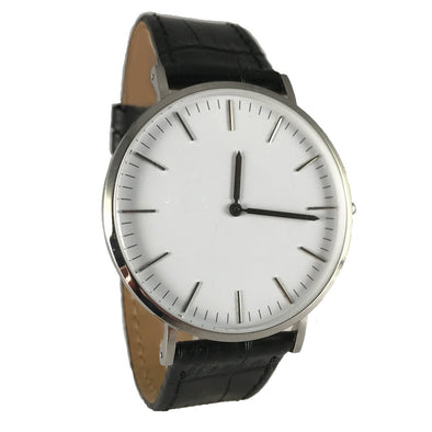 Low-Pro White / Black Leather Watch