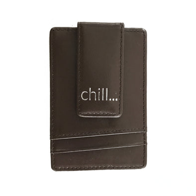 Slim-Clip Brown Leather Card Holder & Money Clip