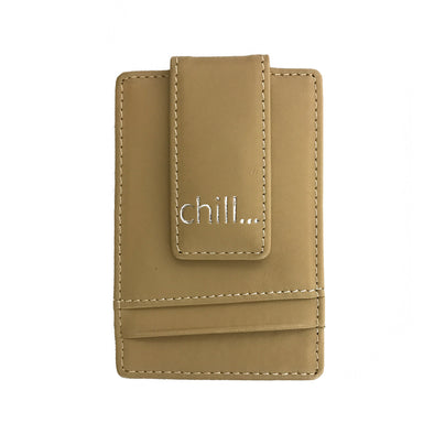 Slim-Clip Tan Leather Money Clip & Card Holder