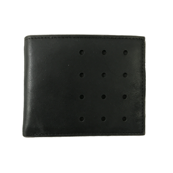 Slim-Fold Black/Grey Bi-Fold Leather Wallet